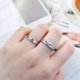 相约银饰925银戒指情侣对戒银指环鹿角一路有你节日礼物开口可调