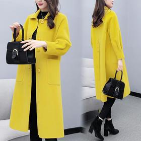 APSL新款韩版灯笼袖毛呢外套大衣TZF