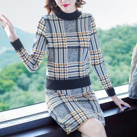 AHM-jfh2246新款格子针织半身裙套装TZF