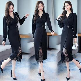 XP-HCYS1937新款欧美风蕾丝黑色裙配腰带TZF