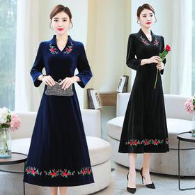 GN-NX1168新款民族风丝绒刺绣宽松大码显瘦连衣裙TZF