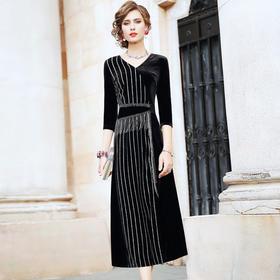 FMY26887新款条纹丝绒复古气质裙TZF