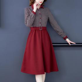 HT6687-2新款时尚气质收腰呢子裙TZF