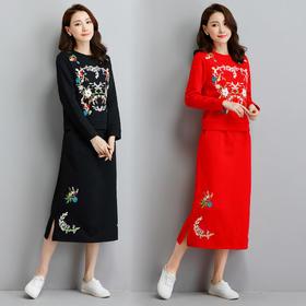 HT8749新款加绒加厚长袖民族风刺绣套装裙TZF