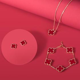 英国HIK珠宝饰品四叶草系列红/小蛮腰系列耳钉 项链  手链三件套灵动简约时尚
