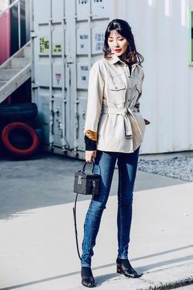 Maison Covet 自有品牌 拼接哑光仿皮衬衫式外套