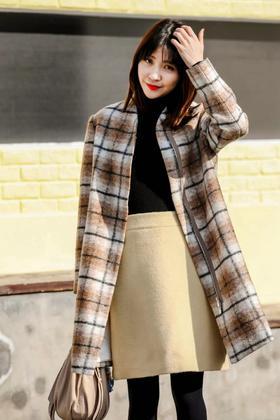 MAISON COVET  自有品牌 羊驼毛混纺格纹外套