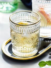 摩登主妇欧式复古花纹浮雕玻璃杯太阳花水杯茶杯创意玻璃杯子酒杯