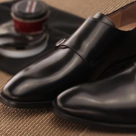 男士新款正装皮鞋黑色\棕色中圆头单扣\双扣孟克鞋