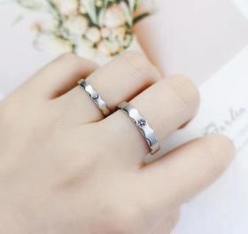 相约银饰925银戒指情侣对戒男女银指环日月朝暮节日礼物情人开口