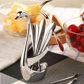 H&3 6叉6勺天鹅餐具套装 不锈钢水果叉子勺子组合