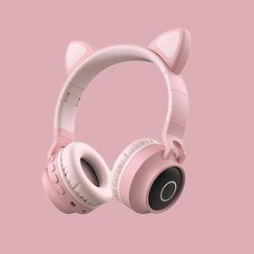 少女心带麦克风韩版可爱头戴式无线耳麦蓝牙耳机听歌专用猫耳朵女生款潮学生台式手机笔记本电脑儿童猫咪降噪