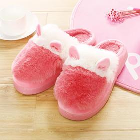 H&3 毛绒兔耳朵居家室内女士棉拖鞋冬季男女加厚保暖毛毛鞋