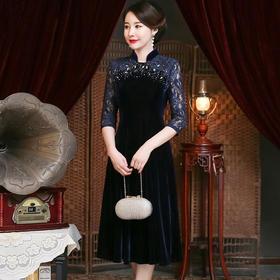 时尚高贵,气质端庄钉珠蕾丝拼接连衣裙YZL-961#