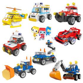 百变布鲁可小队挖掘机布鲁克玩具儿童拼插大颗粒积木