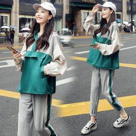 【寒冰紫雨】寒冰紫雨套装/套裙2019年秋季V领长袖百搭韩版简约拼接撞色AAA   AAA