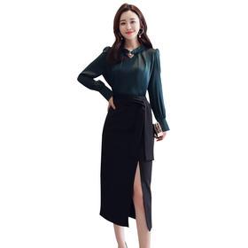 【寒冰紫雨】名媛气质2件套装女  缎面长袖雪纺衫春装上衣服+性感开叉半身裙子 套裙两件套装  AAA7684
