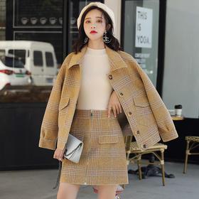 【寒冰紫雨】小香风羊毛呢子polo领外套套装女新款+春秋装毛呢半身裙子 女装2件套装  AAA7598