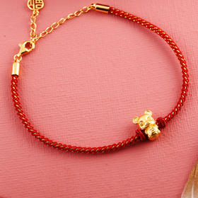 相约银饰S925红绳手链新年祈福系列纳福鼠红绳手链
