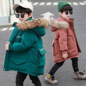 【寒冰紫雨】90-160 冬装大毛领小童加厚保暖冬天童装外套  2-14岁左右童装大口袋羽绒棉服外套 学生棉袄子男生上衣服   AAA7560