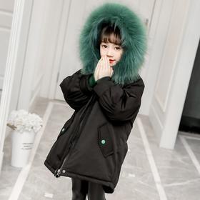 【寒冰紫雨】 派克服男童女童都穿~可拆卸内胆冬季童装女童5-16岁左右可拆卸墨绿蓬松大毛领男士羽绒棉服   AAA7557
