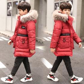 【寒冰紫雨】6-14岁左右可穿 男童装羽绒棉服条纹男学生棉袄子外套  120-160大童装上衣服 AAA7566