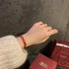 鸿星福小金鼠招财红绳手链可调节礼盒装