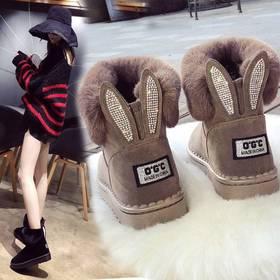 【清仓特价 不退不换】PDD-MY191227新款韩版兔耳朵平跟中筒雪地靴TZF