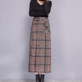 【清仓特价 不退不换】PDD-YN191227新款秋冬毛呢格子半身裙TZF