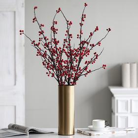 仿真冬青果把束发财果红果子仿真花假花插花单支花家居室内装饰品