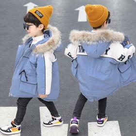 【寒冰紫雨】 大毛领羽绒棉服加厚中长款大童装90-140 男款冬天外套2-12岁左右可穿  学生衣服冬季大口袋拼接撞色棉衣连帽袄子  AAA7595
