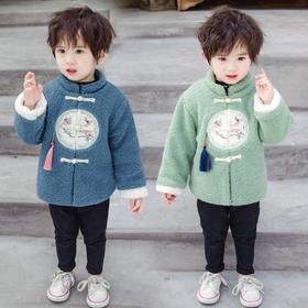 【寒冰紫雨】冬装男小童外套 80-120可以穿冬天中国风童装   泰迪绒加厚保暖1-10岁左右童装盘口小立领上衣服  AAA7588