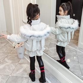 【寒冰紫雨】撞色大毛领冬季女童羽绒棉服鱼尾下摆外套 加厚保暖兔耳朵大口袋棉衣外套 AAA7583