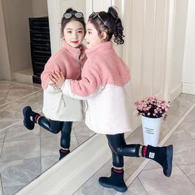 【寒冰紫雨】 公主梦小立领羽绒棉服外套6-14左右可以穿  泰迪绒拼接撞色加厚棉袄子童装外衣服    AAA7596