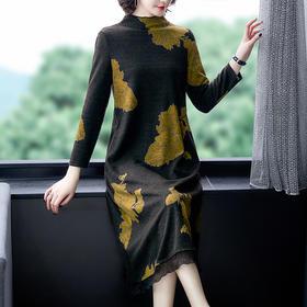 【寒冰紫雨】大码L-4XL宽松显瘦小立领裙子 新款大气V领连衣裙新款   春秋装长袖裙子  AAA7608