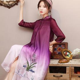 OG99368新款复古中国风宽松立领连衣裙TZF