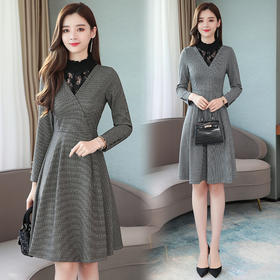 【寒冰紫雨】春装新款蕾丝拼接连衣裙 女装中长款长袖OL风办公室白领裙子 AAA7610