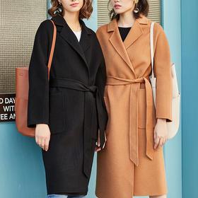 Lily Moon双面呢羊毛大衣 , 双面锁温抗寒,显高5cm,气场全开