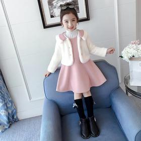 【清仓特价 不退不换】ZCY新款韩版加厚水貂绒公主裙两件套TZF