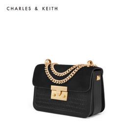 CHARLES&KEITH编织斜挎小CK黑色小方包链条包婚包