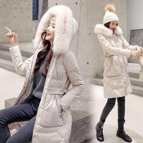 【寒冰紫雨】   冬装加厚女士羽绒服过膝木耳边面包服  中长款大毛领大口袋大学生冬季外套  AAA7615