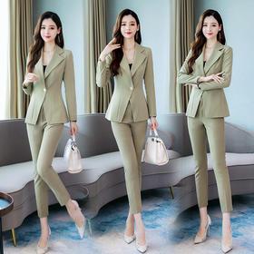 【寒冰紫雨】 简约百搭小西装套装2件套女 春新款修身显瘦长裤子 时尚气质女装长袖两件套  AAA7619