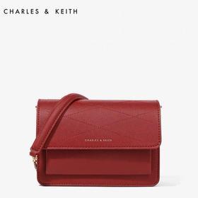 CHARLES&KEITH小方包小CK 欧美风琴翻盖单肩包斜挎女婚包