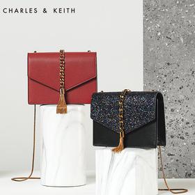 CHARLES&KEITH信封包小CK流苏饰单肩链条小方包婚包