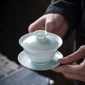永利汇 影青瓷三才茶杯盖碗泡茶碗单个 功夫茶具景德镇陶瓷茶盏