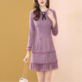 HT6525新款紫色蕾丝钉珠连衣裙TZF