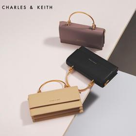 CHARLES&KEITH长款钱包小CK翻盖单肩手拿钱包链条包