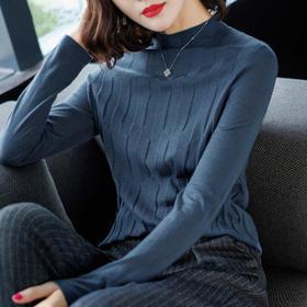 【寒冰紫雨】 半高领女士长袖短款毛衣女士长袖毛衣     AAA7626