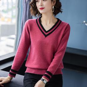 【寒冰紫雨】   女装长袖毛衣 宽松V领针织衫上衣薄款打底毛衣短款   AAA7622