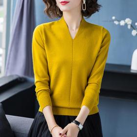 【寒冰紫雨】   女装长袖毛衣  柔软舒适个性V领毛衣短款上衣女生 打底毛衣短款   AAA7623